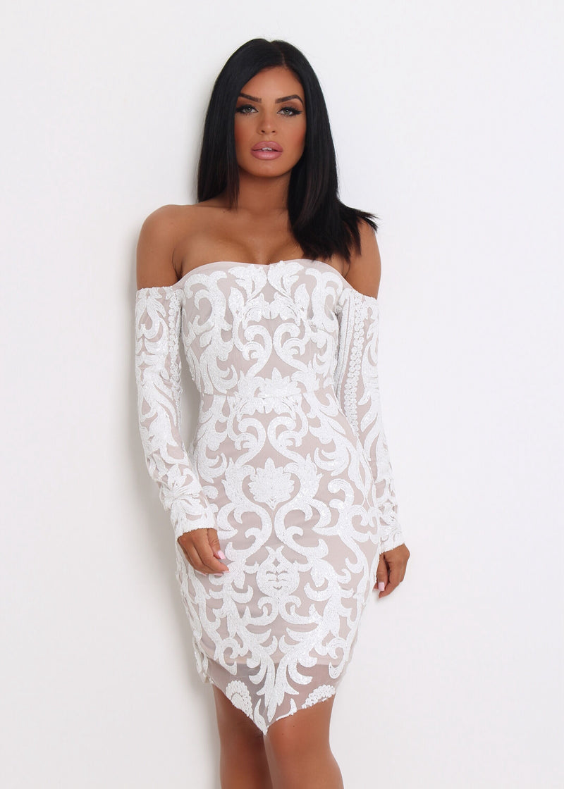 9788b4f0 Have A Ball' Sequin Dress - White – Dressmezee
