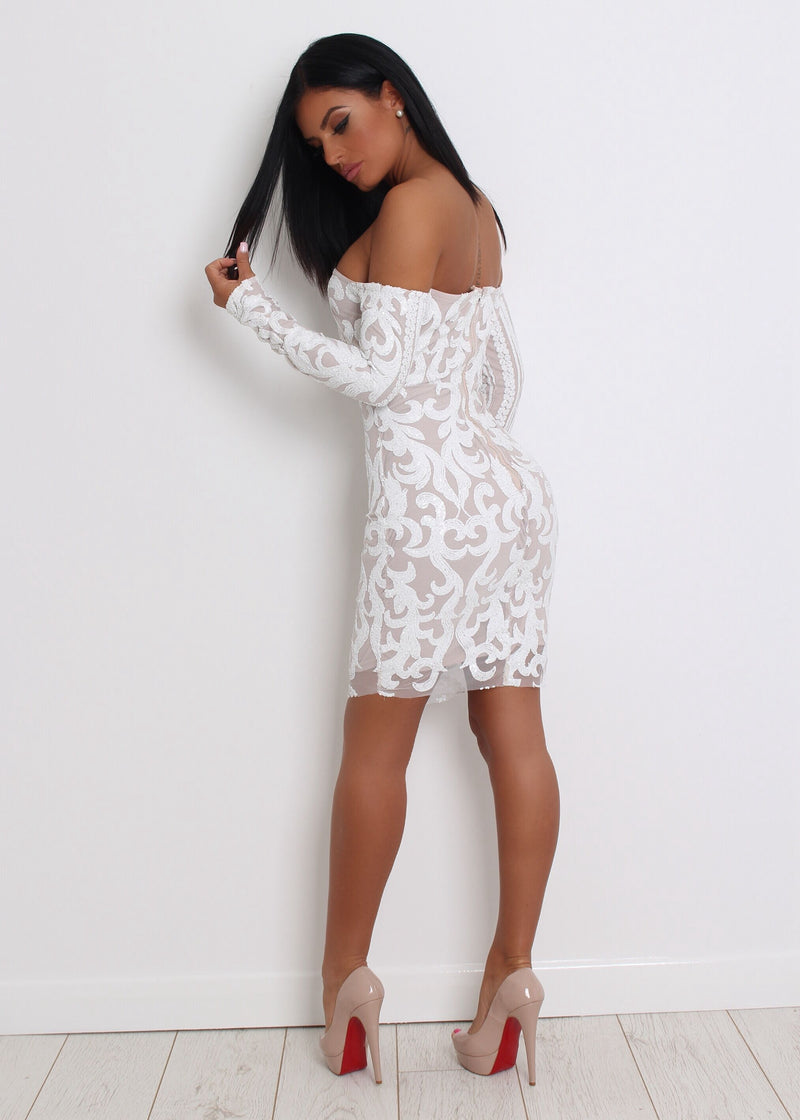 'Have A Ball' Sequin Dress - White
