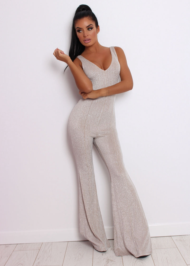 True Love Lurex Jumpsuit - Nude