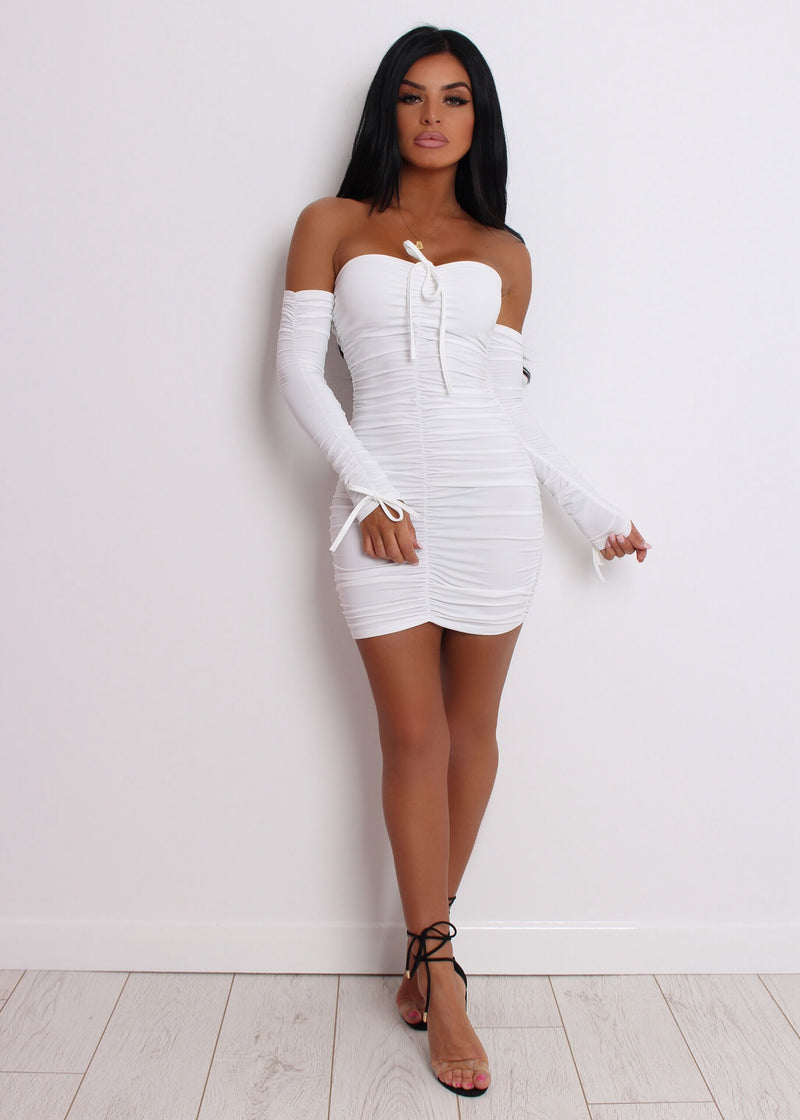 Paparazzi Ruched Dress - White