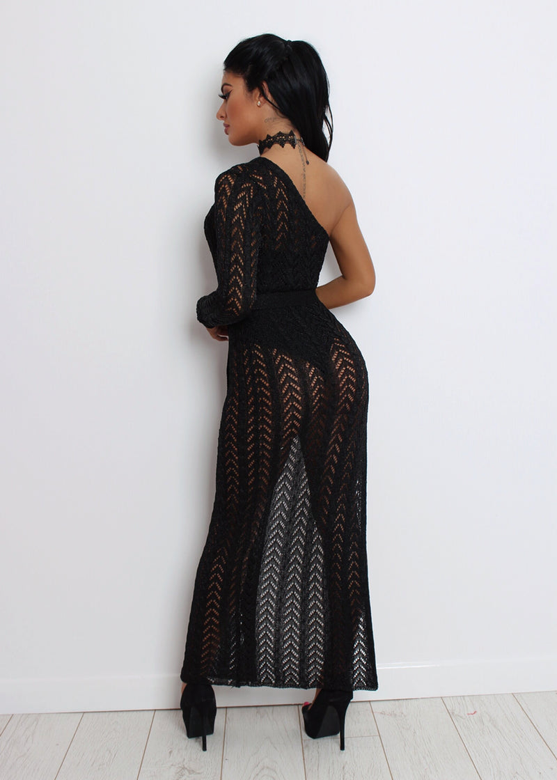 'Sheer Romance' Metallic Knit Dress - Black