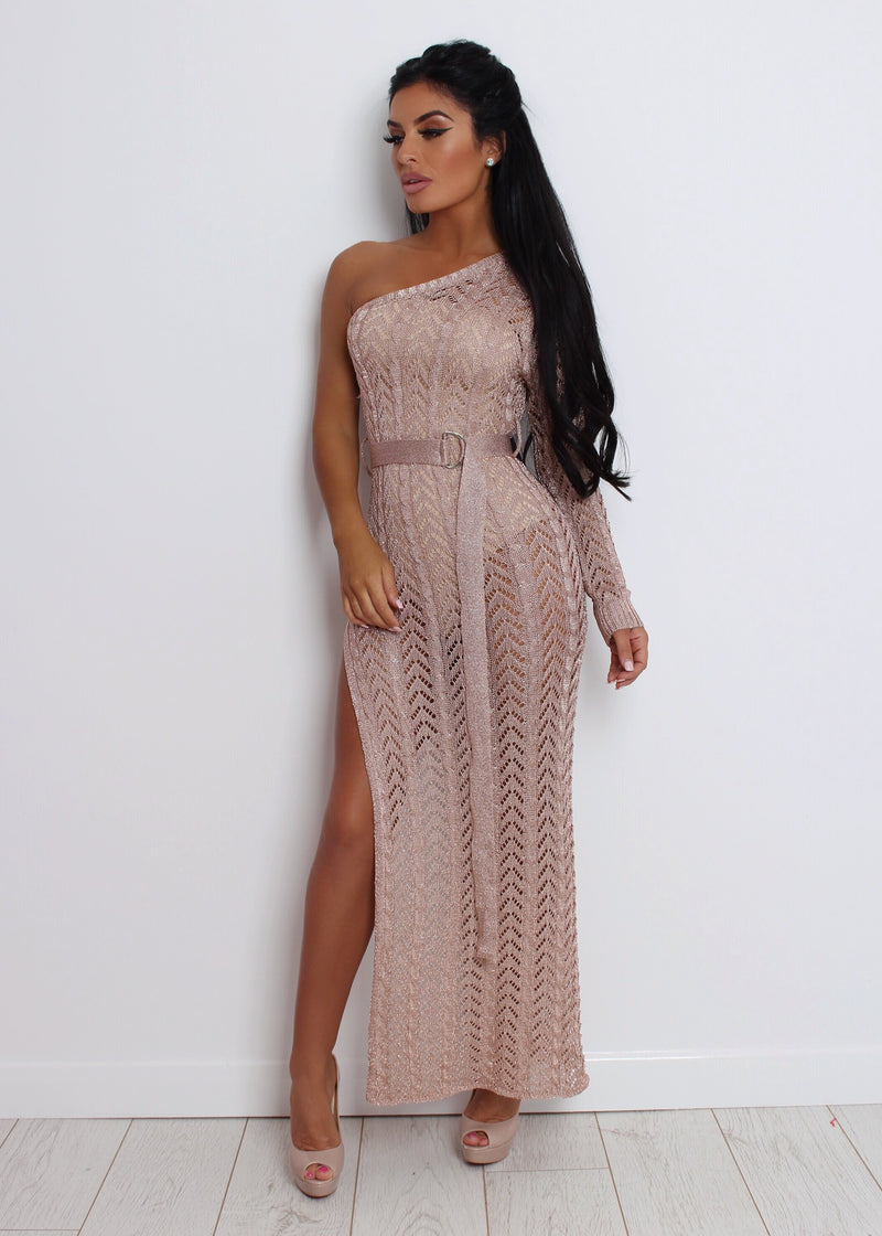 'Sheer Romance' Metallic Knit Dress - Rose Gold