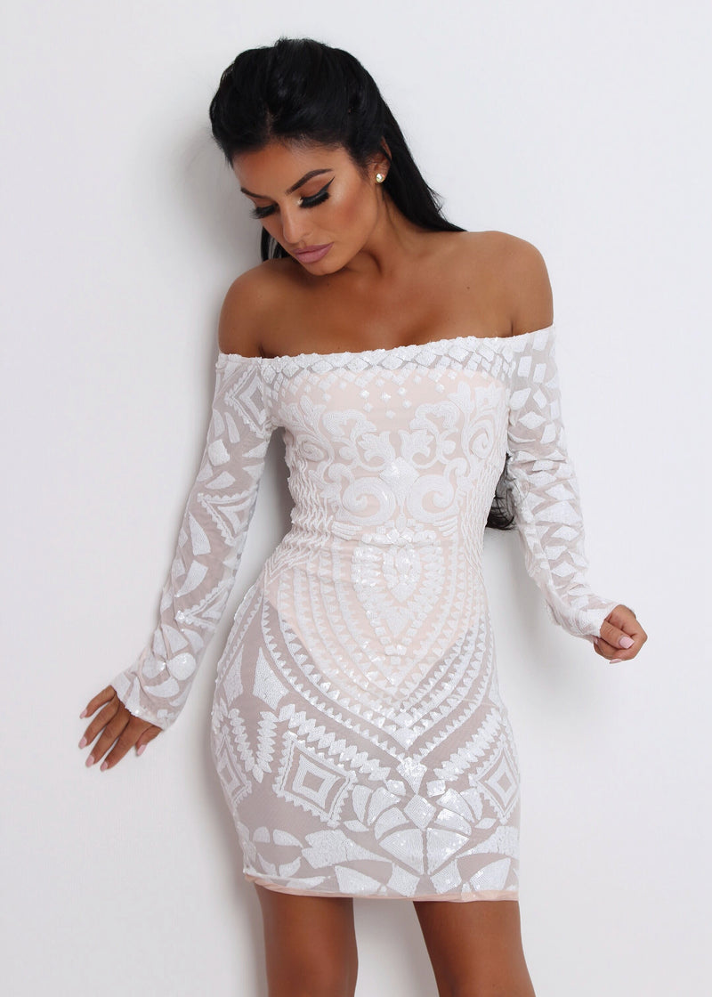 Stella Mesh Sequin Dress - White