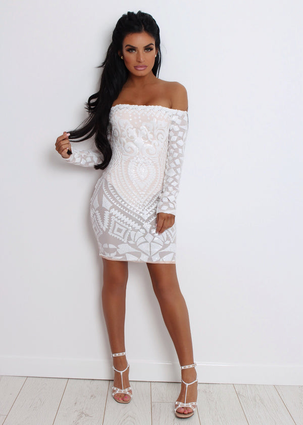 Stella Mesh Sequin Dress - White L