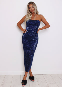 'Hollywood Glam' Bodycon Dress - Navy