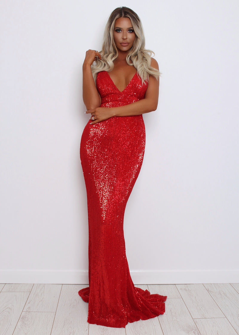 'Frozen Heart' Sequin Gown - Red