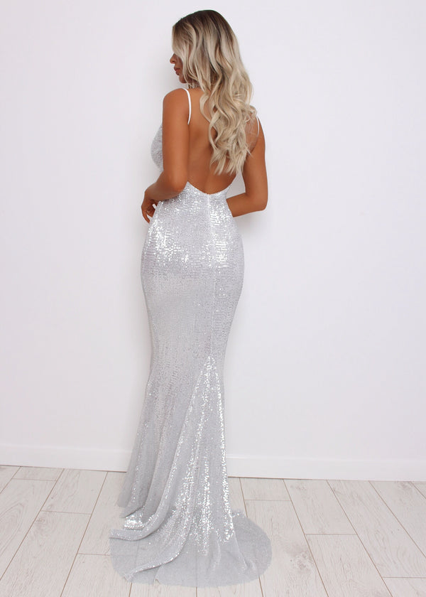 'Frozen Heart' Sequin Gown - Silver