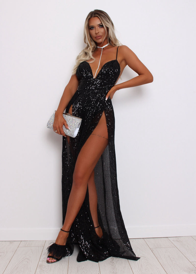 Midnight in Paris High Slits Sequin Gown - Black