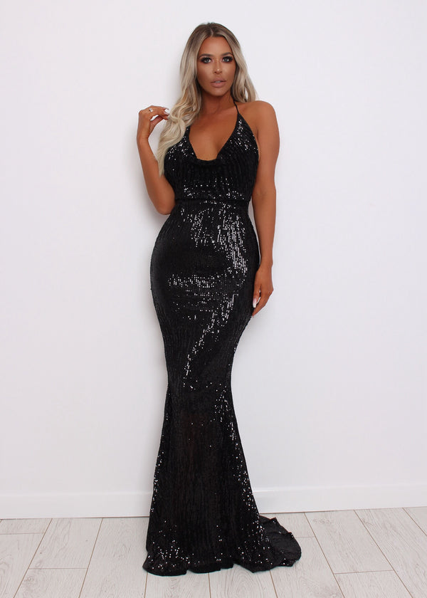 'See Me Shine' Cowl Neck Sequin Gown - Black