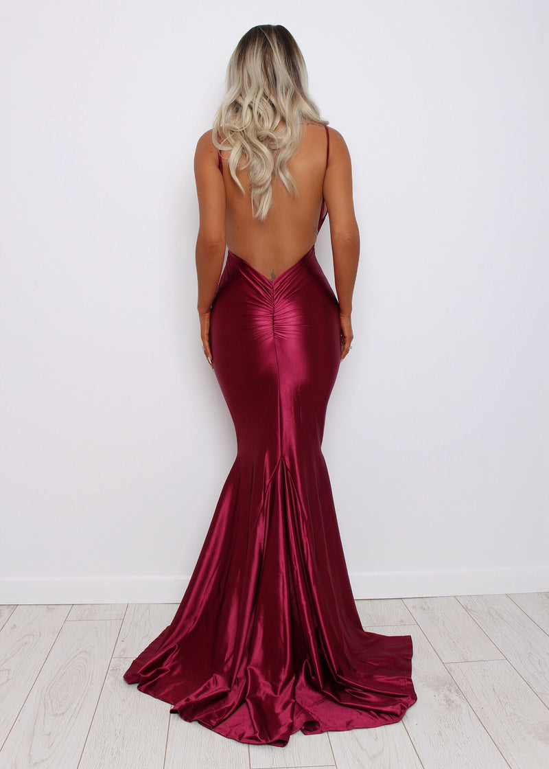 'Love Affair' Satin Gown with Ruched Back - Wine