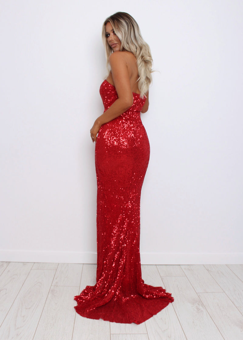 Lush Life Sequin Gown - Red