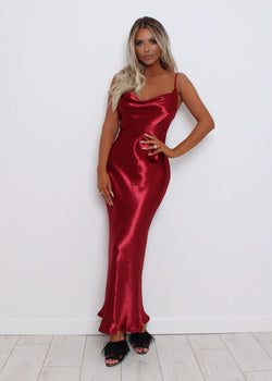Evening Envy Satin Gown - Wine
