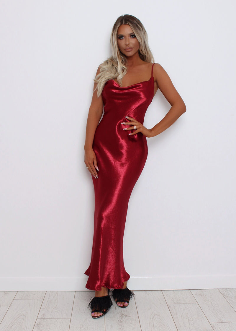 Evening Envy Satin Gown - Wine S M