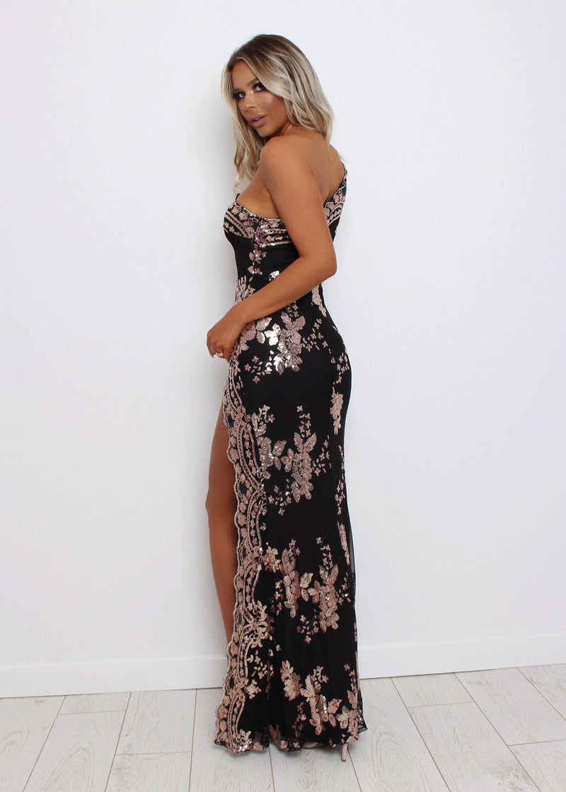 Belle Of The Ball Sequin Mesh Dress - Black