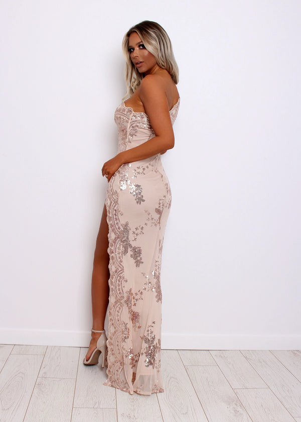 Belle Of The Ball Sequin Mesh Dress - Nude