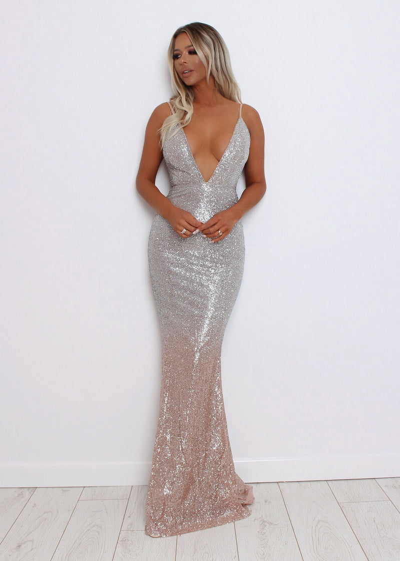 'Enchanted Evening' Gradient Glitter Gown