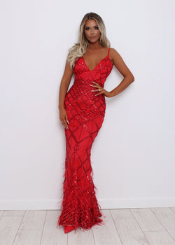 Ball Beauties Feather Gown - Red
