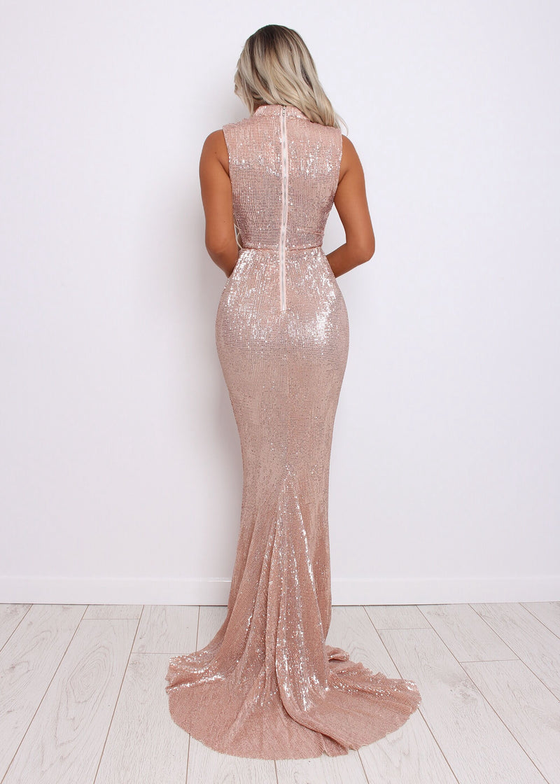 Met Gala Sequin Dress - Rose Gold