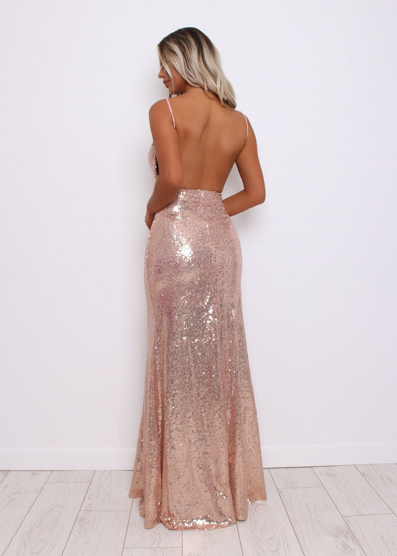 Work The Runway Rose Gold Gown