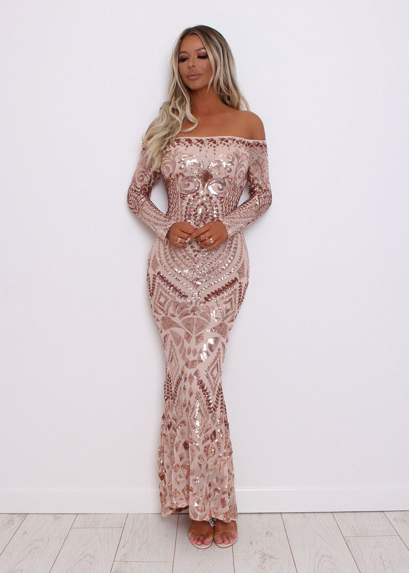 Love Shine Rose Gold Sequin Dress
