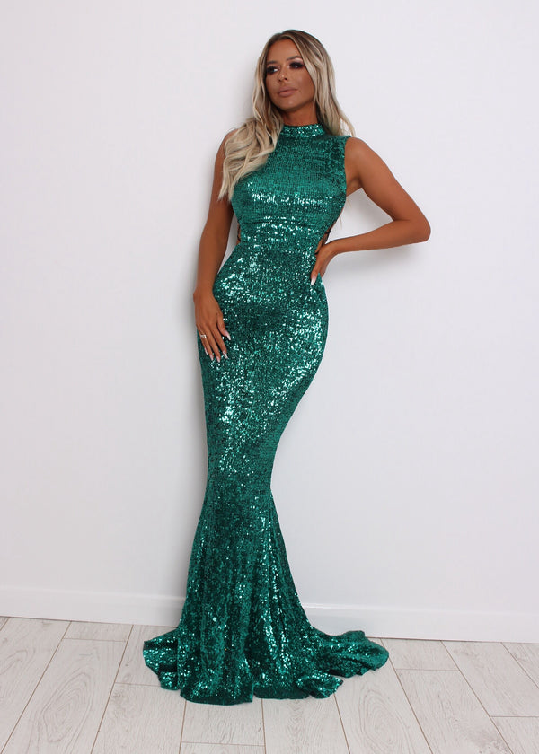 Met Gala Sequin Dress - Emerald Green