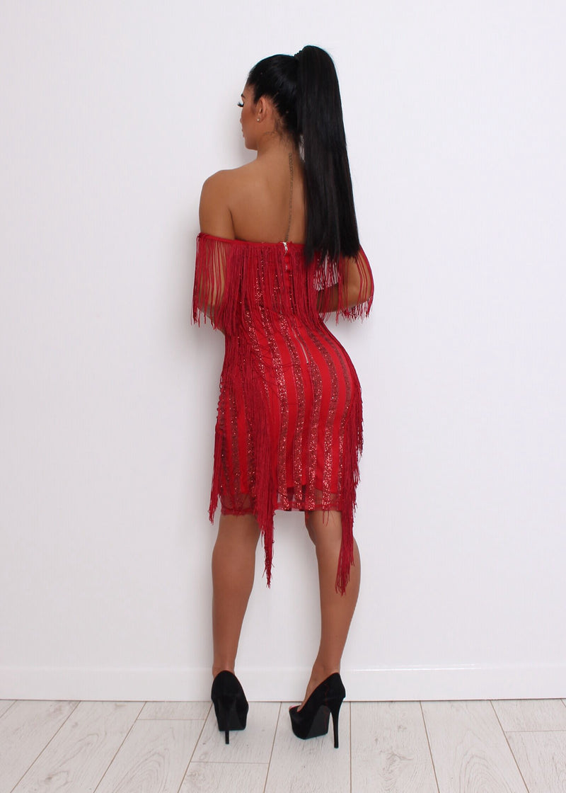 Showtime Glitter Sequin Dress - Red