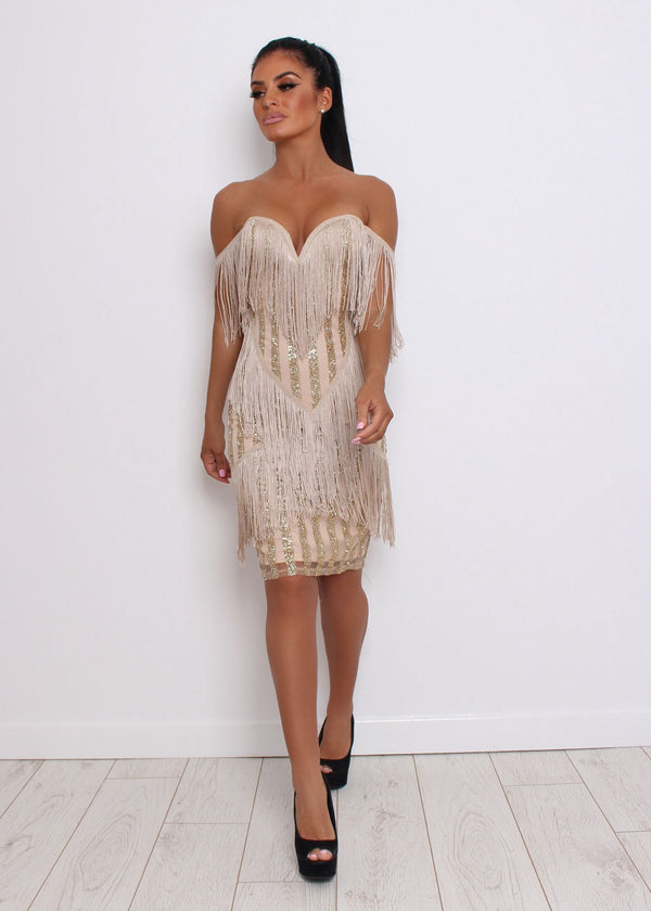 Showtime Glitter Sequin Dress - Gold