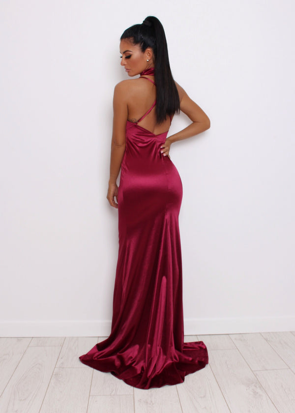 'Live It Up' Satin Gown - Wine