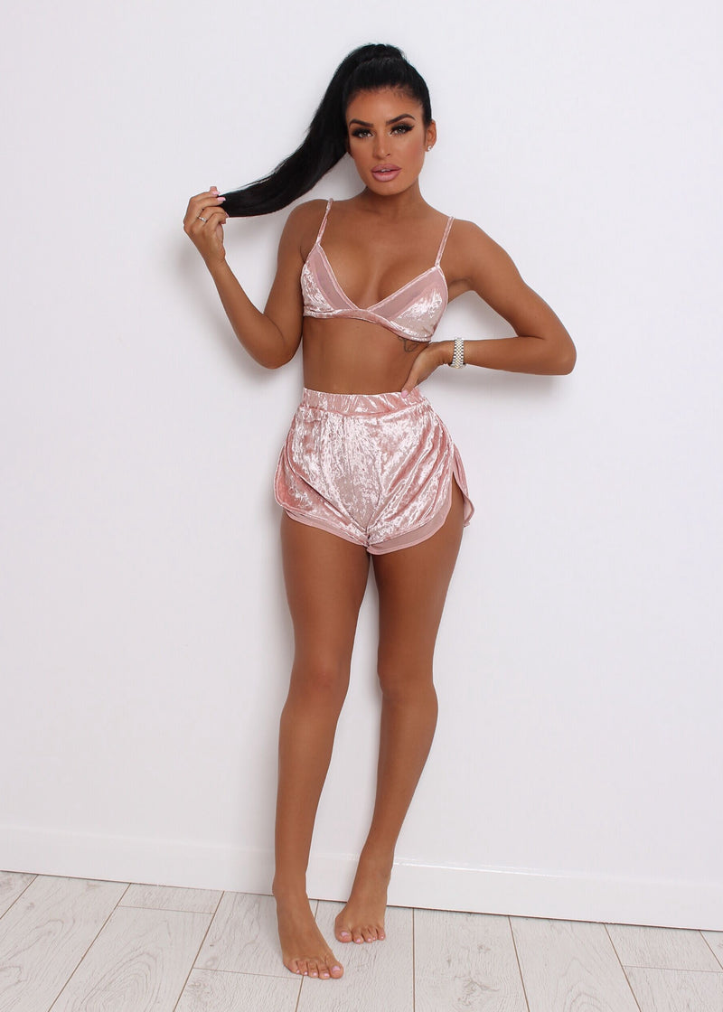 All I Am Velvet Two Piece - Pink