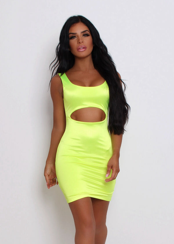 Cocktail Hour Cut Out Dress - Neon Yellow