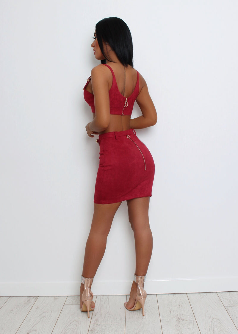 Buckle Up Suede Two Piece - Wine