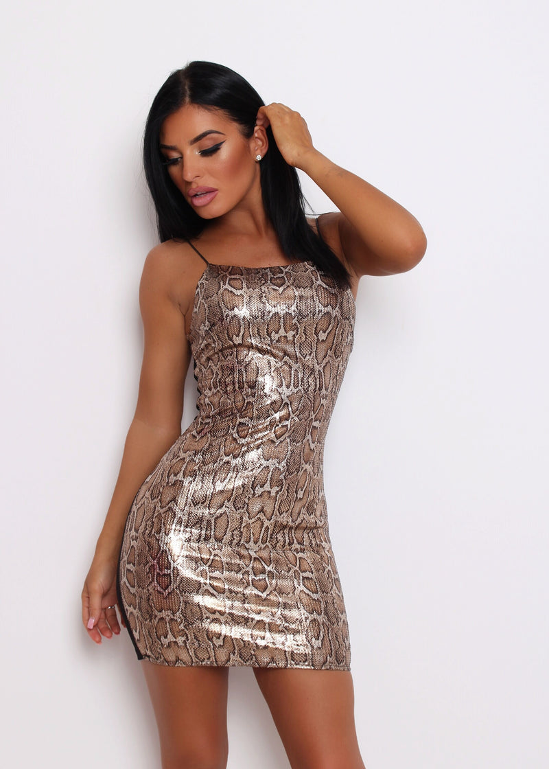 Slither and Slay Snake Print Stretchy Sequin Dress