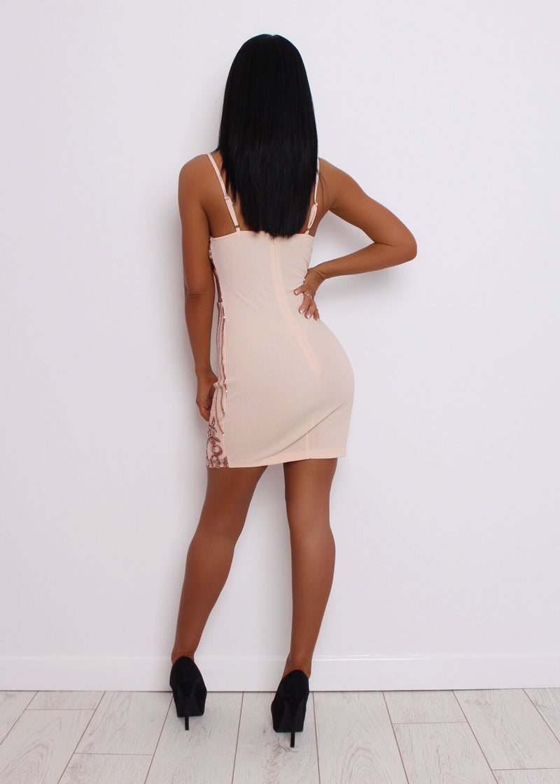 Break The Ice Sequin Dress - Rose Gold