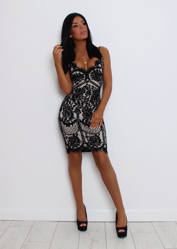 Dangerous Love Lace Bodycon Dress - Black