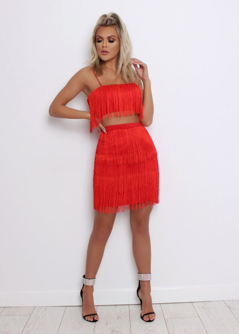 Strictly Come Flirting Fringe Two Piece - Red