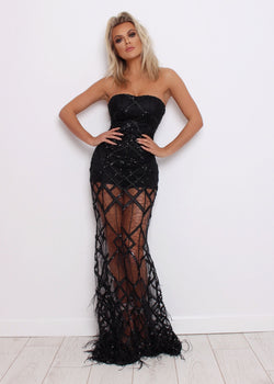 Elegant Evening Ball Gown - Black
