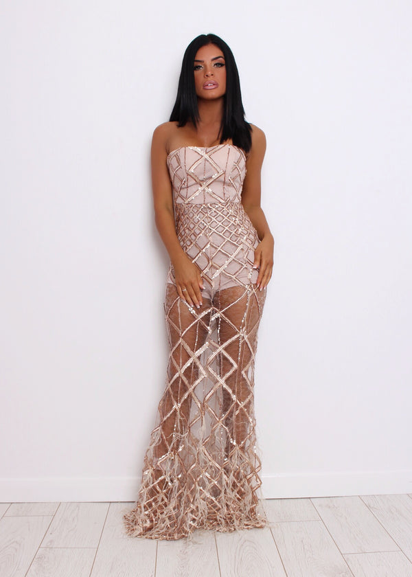 Elegant Evening Ball Gown - Nude