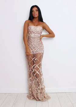 Elegant Evening Ball Gown - Nude L