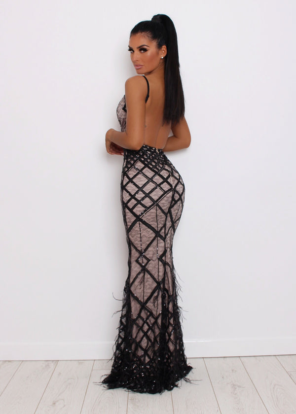 Ball Beauties Feather Gown - Black