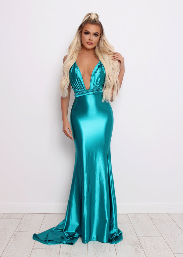 'Red Carpet Ready' Satin Gown - Turquoise