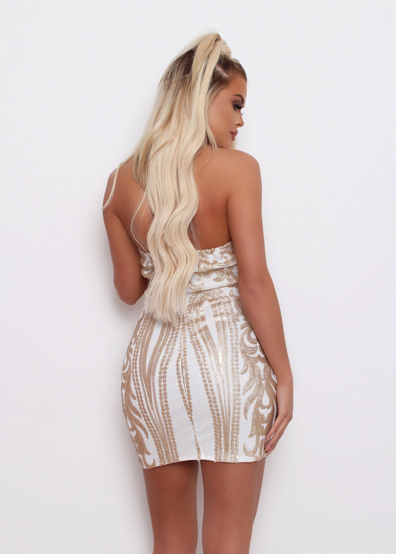 Roxana Embroidered Bodycon Dress - White and Gold S