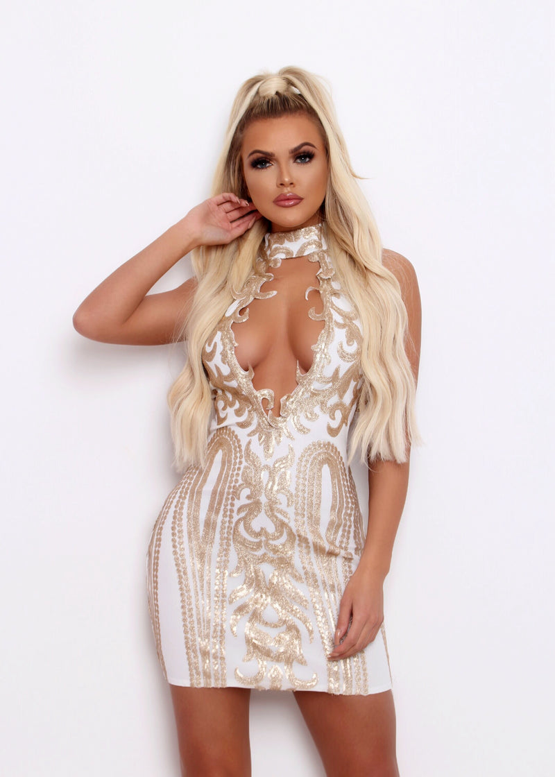 Roxana Embroidered Bodycon Dress - White and Gold