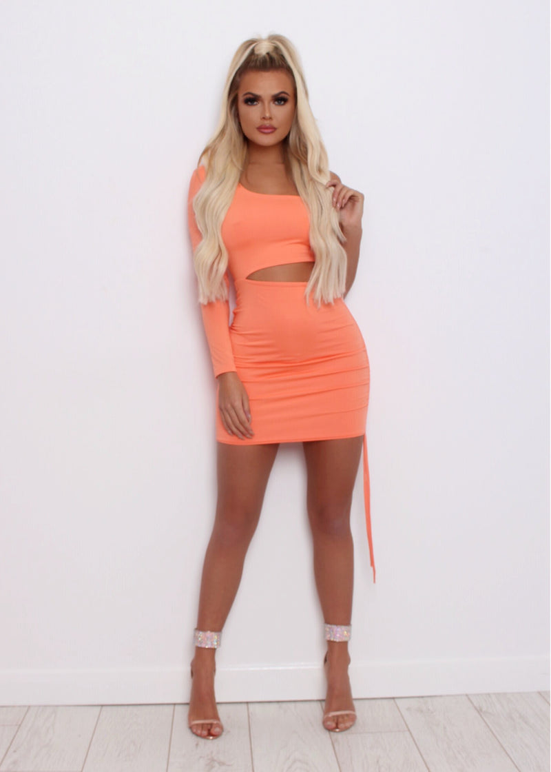 Make the Cut One Shoulder Dress - Salmon