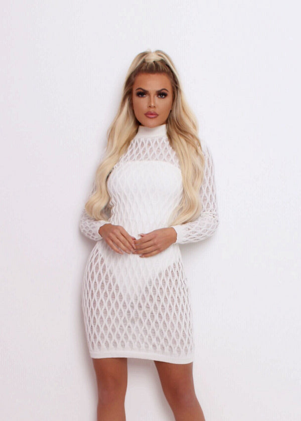 Knitted with Love Dress - White