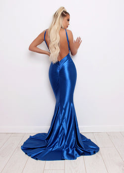 'Love Affair' Satin Gown with Ruched Back - Electric Blue