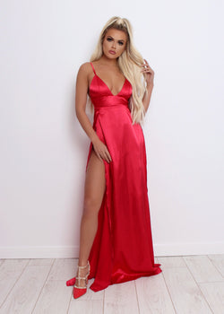 Split Decision Satin Gown - Red