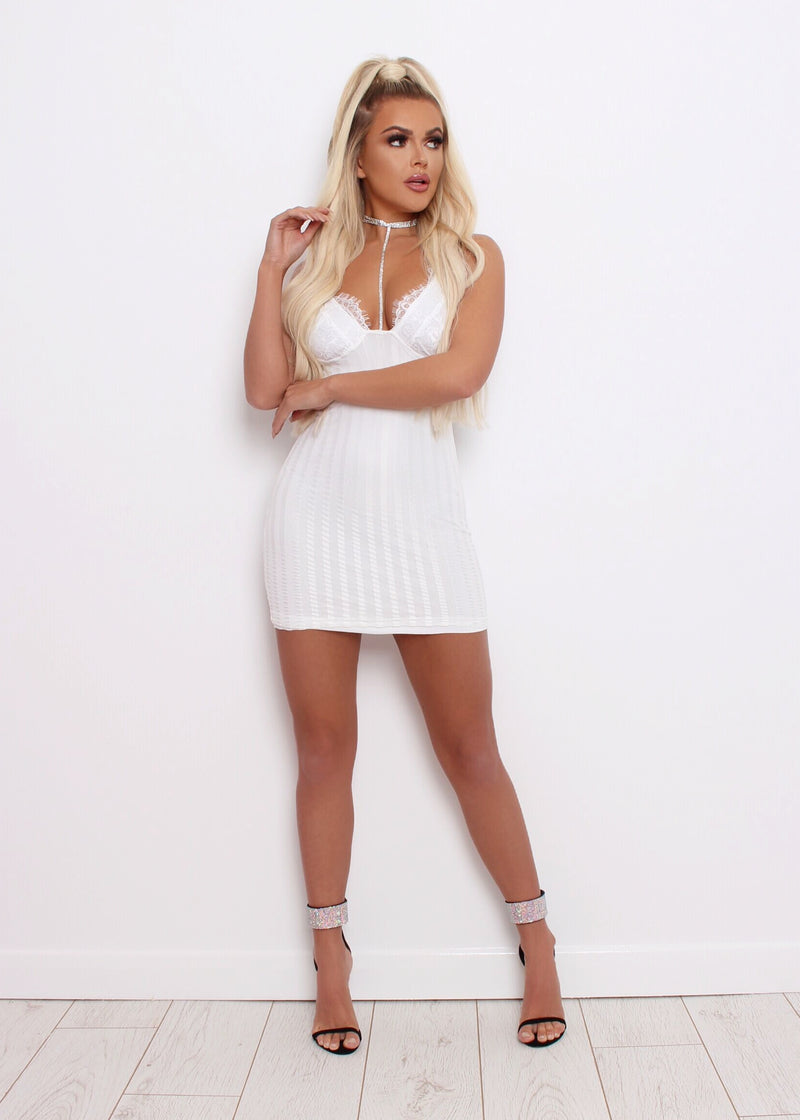Lace All Night Mini Bodycon Dress - White