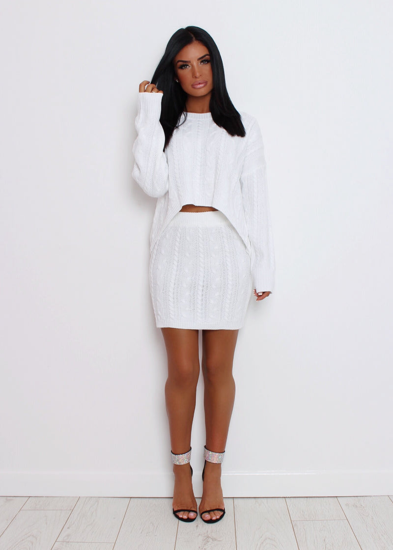 Poppy Knitted Two Piece - White