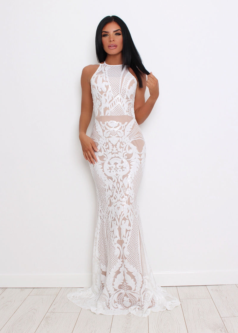Dream Girl Sequin Maxi Dress - White