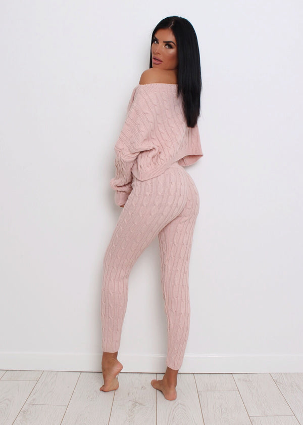 Cosy Chic Knitted Two Piece - Blush Pink